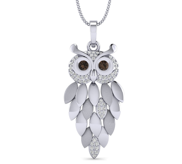 White Gold Plated Hollow Owl shape Pendant