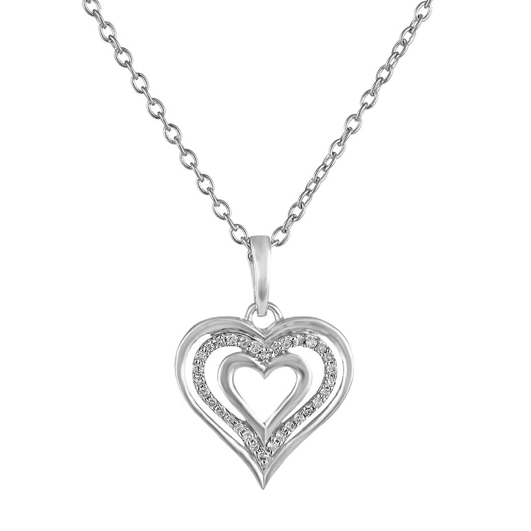 Silver Gold Triple Heart Necklace