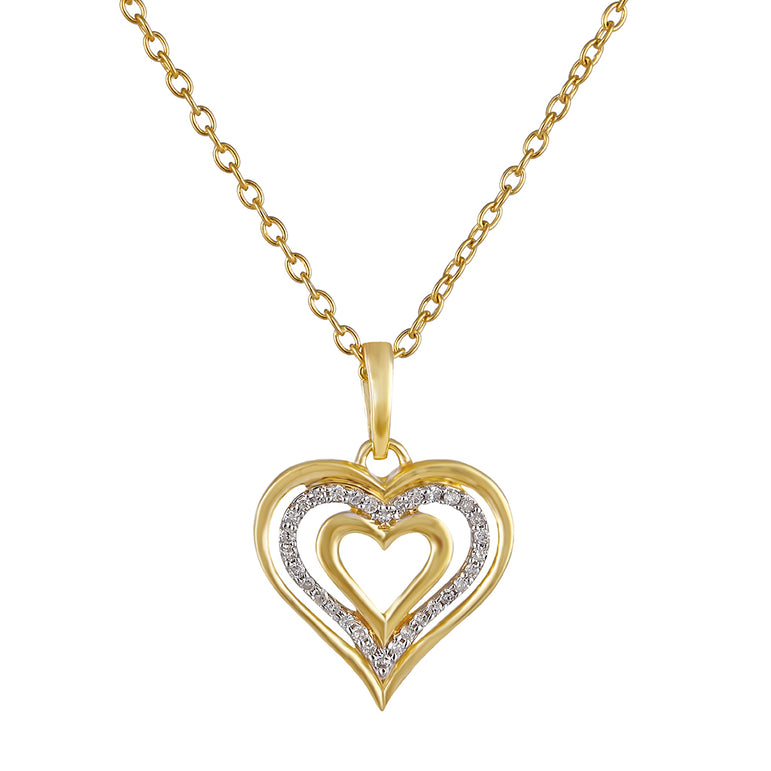 Yellow Gold Triple Heart Necklace