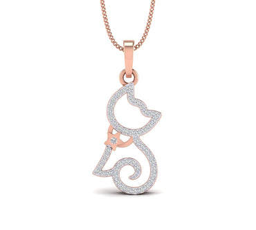 Rose Gold Plated Silver Cat Pendant