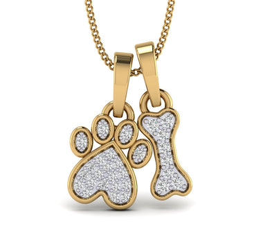 Yellow gold Natural Diamond Accent Paw Print and Dog Bone Pendant