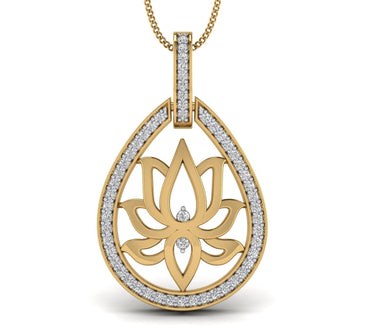 Yellow Gold Plated Silver Lotus Pendant