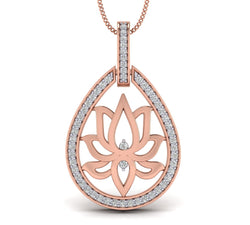 Rose Gold Plated Silver Lotus Pendant