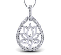 White Gold Plated Silver Lotus Pendant