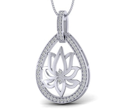 1/4ct Natural Diamond Lotus Pendant in Gold Plated Silver by FEHU