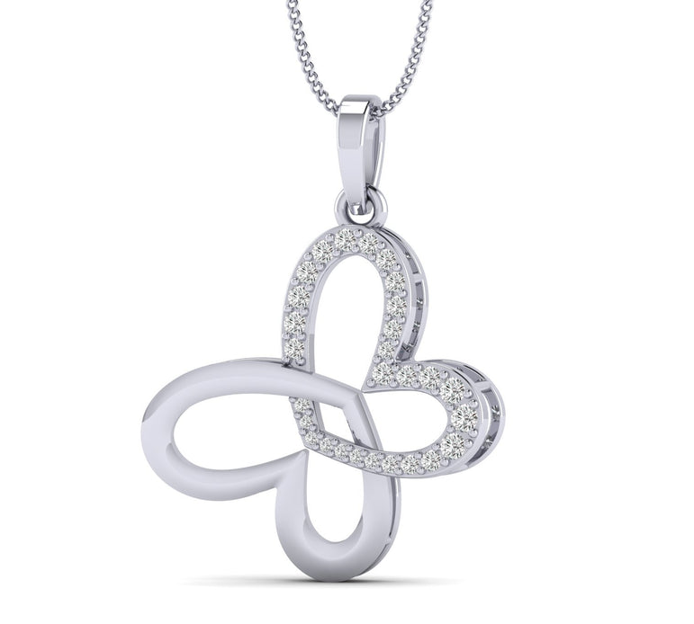 1/5ct Natural Diamond Love At First Heart Sight Pendant in Gold Plated Silver By Fehu