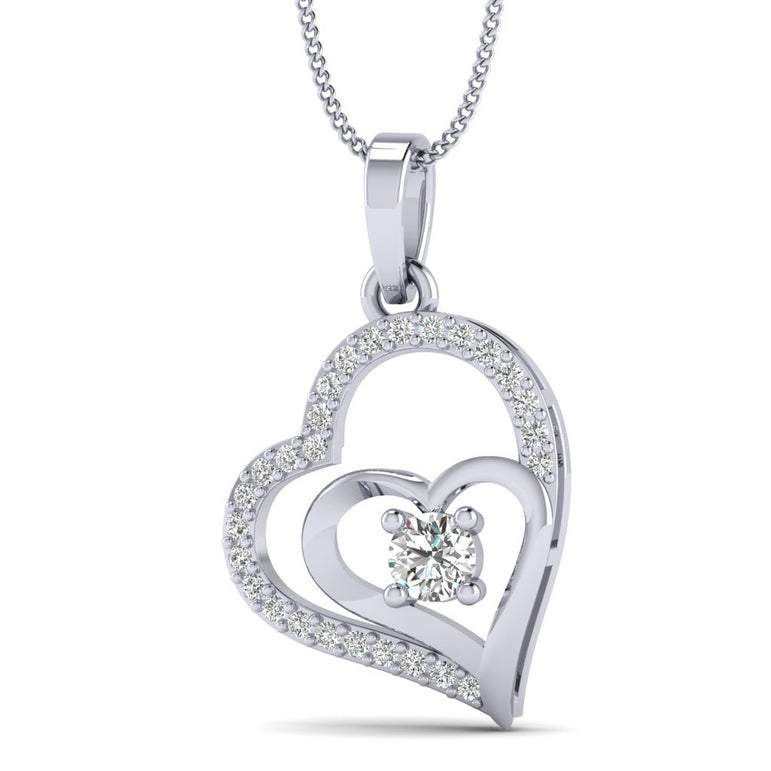 Natural Diamond Gold Plated Silver Love At First Sight Double Heart Diamond Pendant For Woman