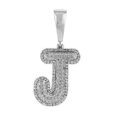Initial J Bubble Letter Pendant white gold