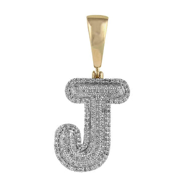 Initial J Bubble Letter Pendant yellow gold