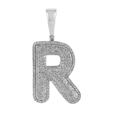 Initial R Bubble Letter Pendant white gold