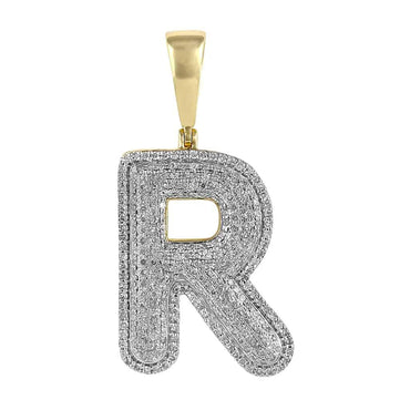 Initial R Bubble Letter Pendant yellow gold