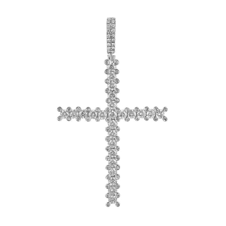 White Gold Cross Necklace Pendant for Men