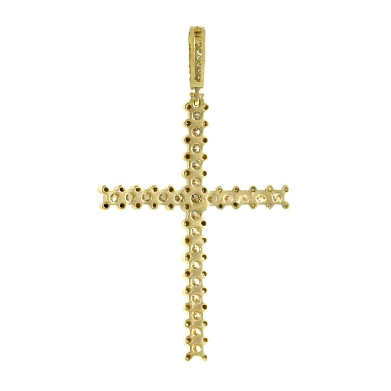 Yellow Gold Cross Necklace Pendant for Men