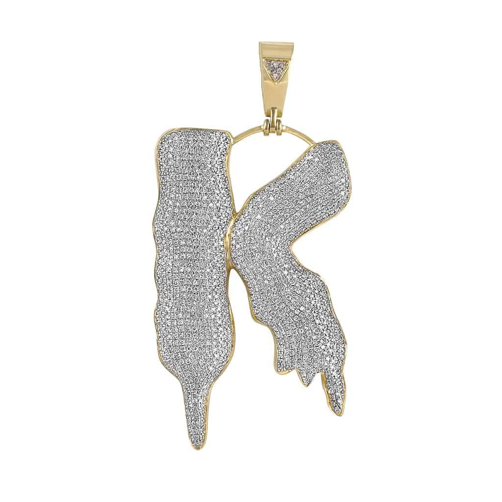 Initial K Bubble Letter Pendant yellow gold