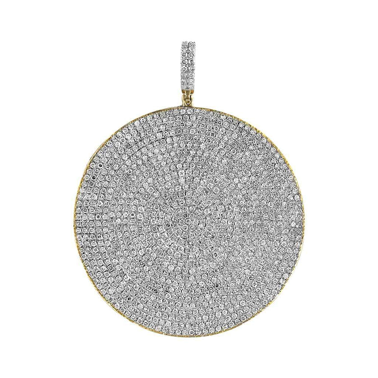 Men's Iced Out Round Hip Hop Pendant yellow gold