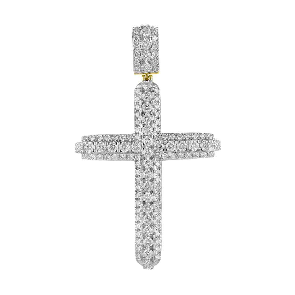 Diamond Cross Pendant yellow gold