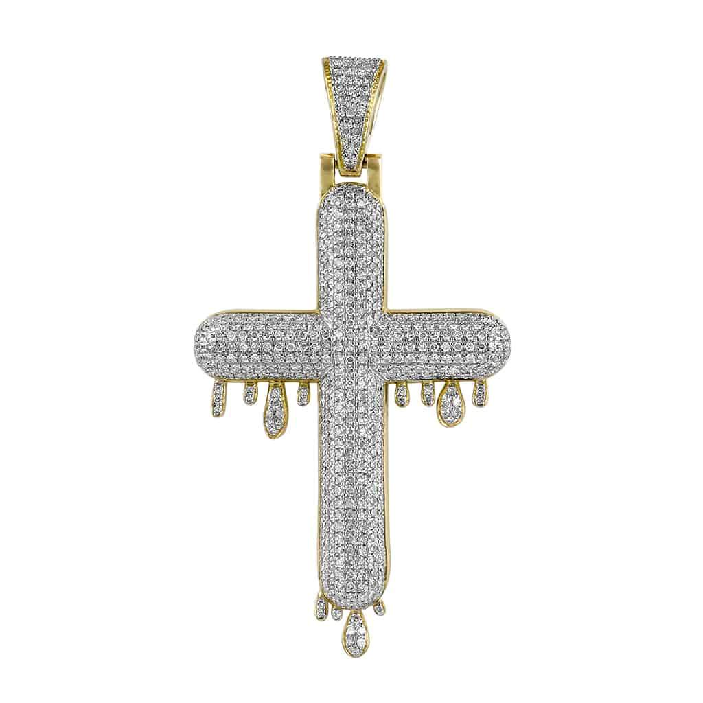 yellow gold Bubble Cross Pendant