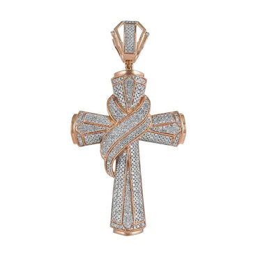 Men's Diamond Cross Pendant rose gold