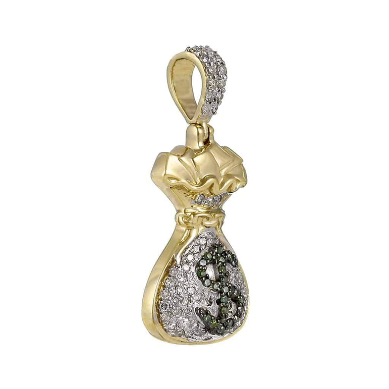 Little Money Bag Dollar Pendant yellow gold