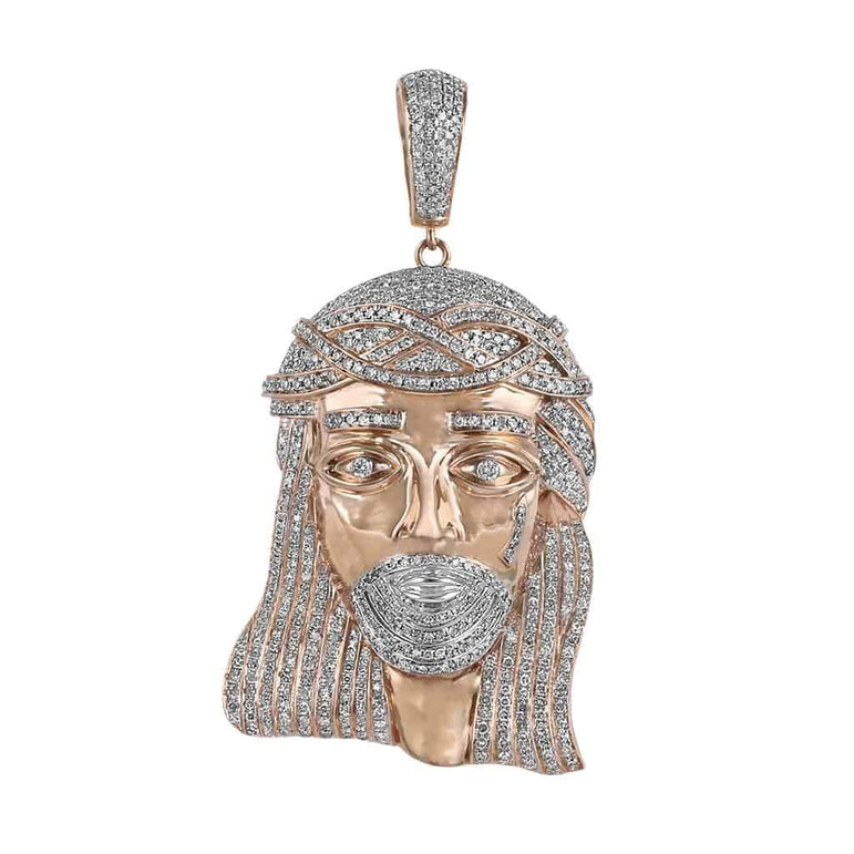 rose gold jesus head pendant for men