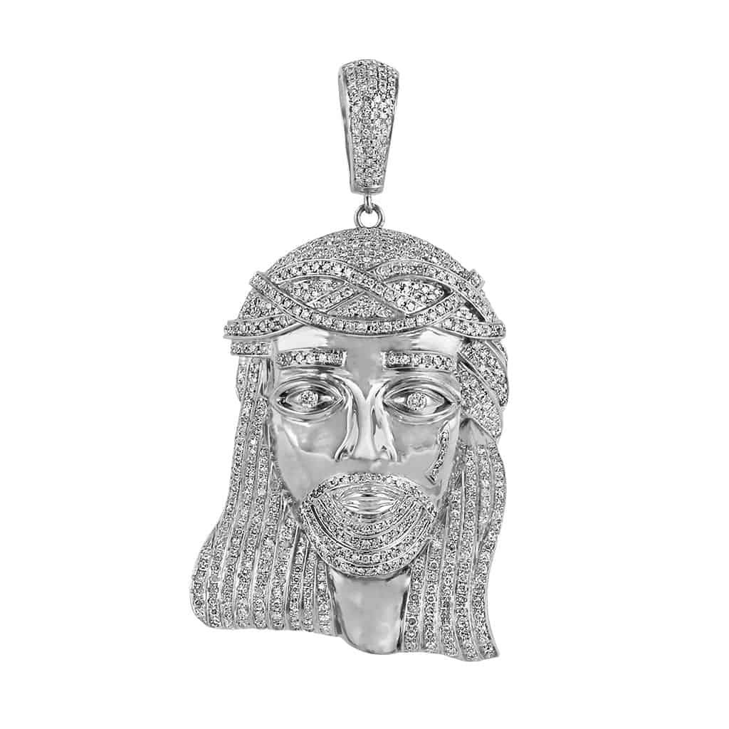 white gold jesus head pendant for men
