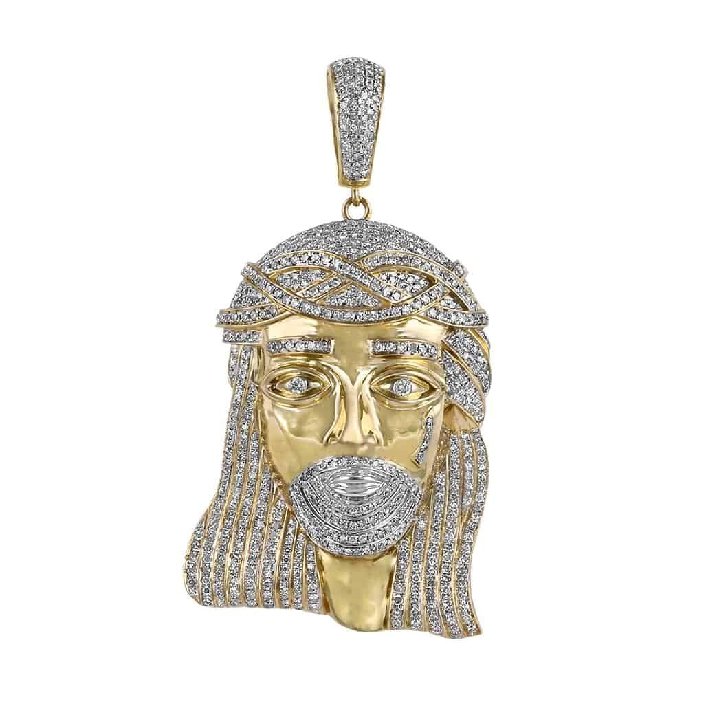 yellow gold jesus head pendant for men
