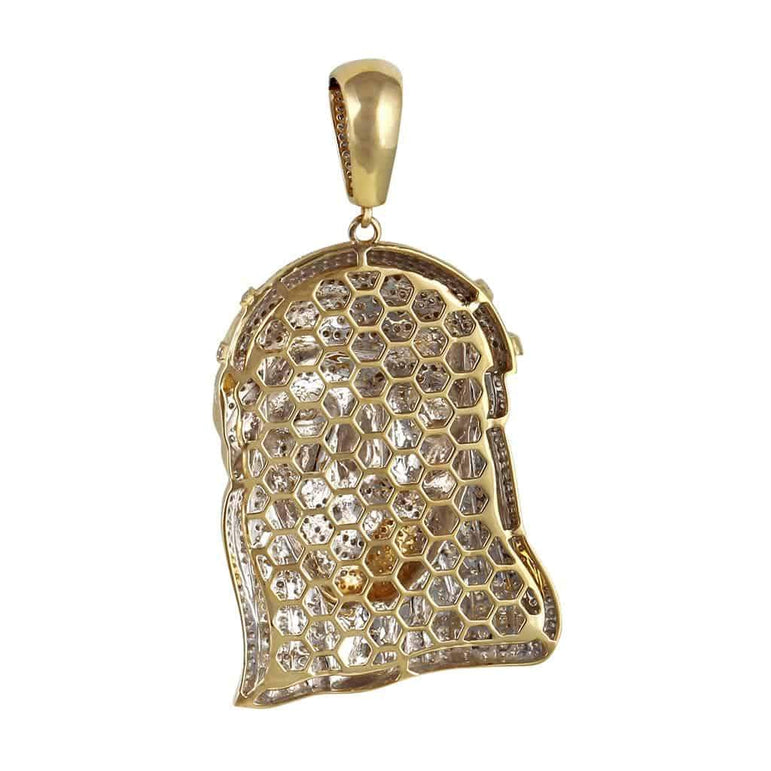 Jesus Head Pendant 10k gold 2.48ct Round Diamond Hip Hop Charm by Fehu Jewel