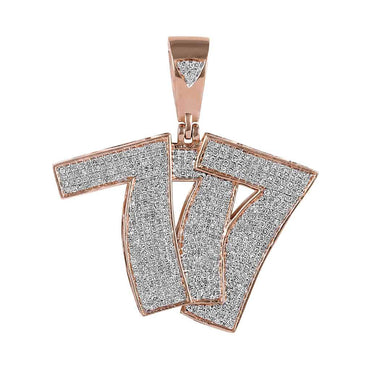 Hip Hop Bling 777 Pendant for Men rose gold