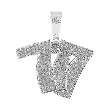 Hip Hop Bling 777 Pendant for Men white gold