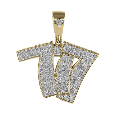 Hip Hop Bling 777 Pendant for Men yellow gold