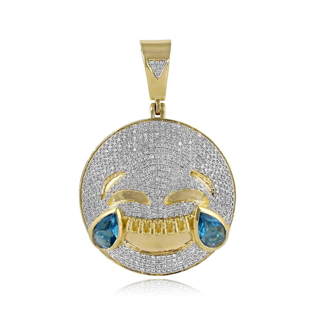 Smiling Emoji Necklace Pendant yellow gold
