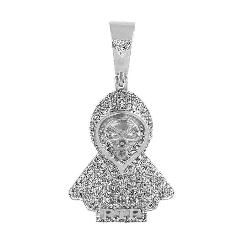 RIP Skull Mask Pendant white gold