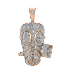 Iced Out Gas Mask Necklace rose gold