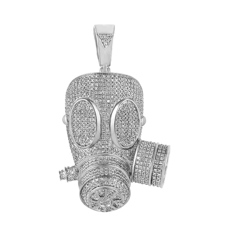 Iced Out Gas Mask Necklace white gold