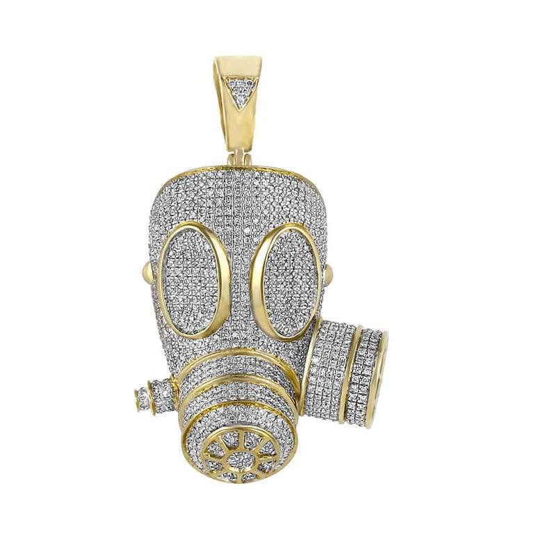 Iced Out Gas Mask Necklace yellow gold