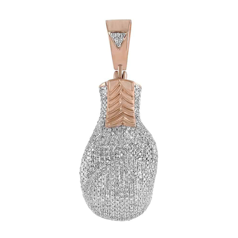 Iced Out Boxing Glove Pendant rose gold