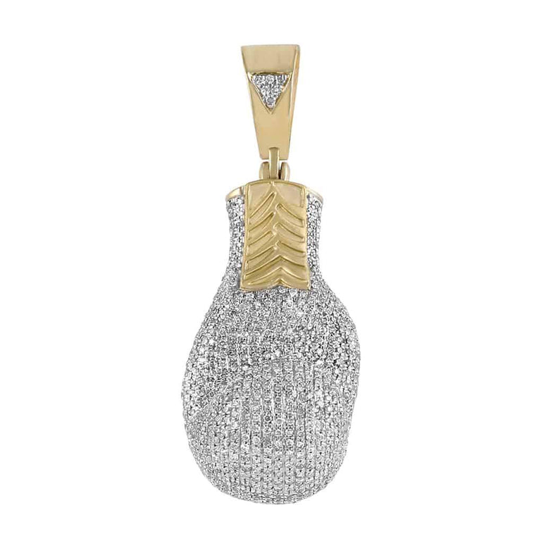 Iced Out Boxing Glove Pendant yellow gold