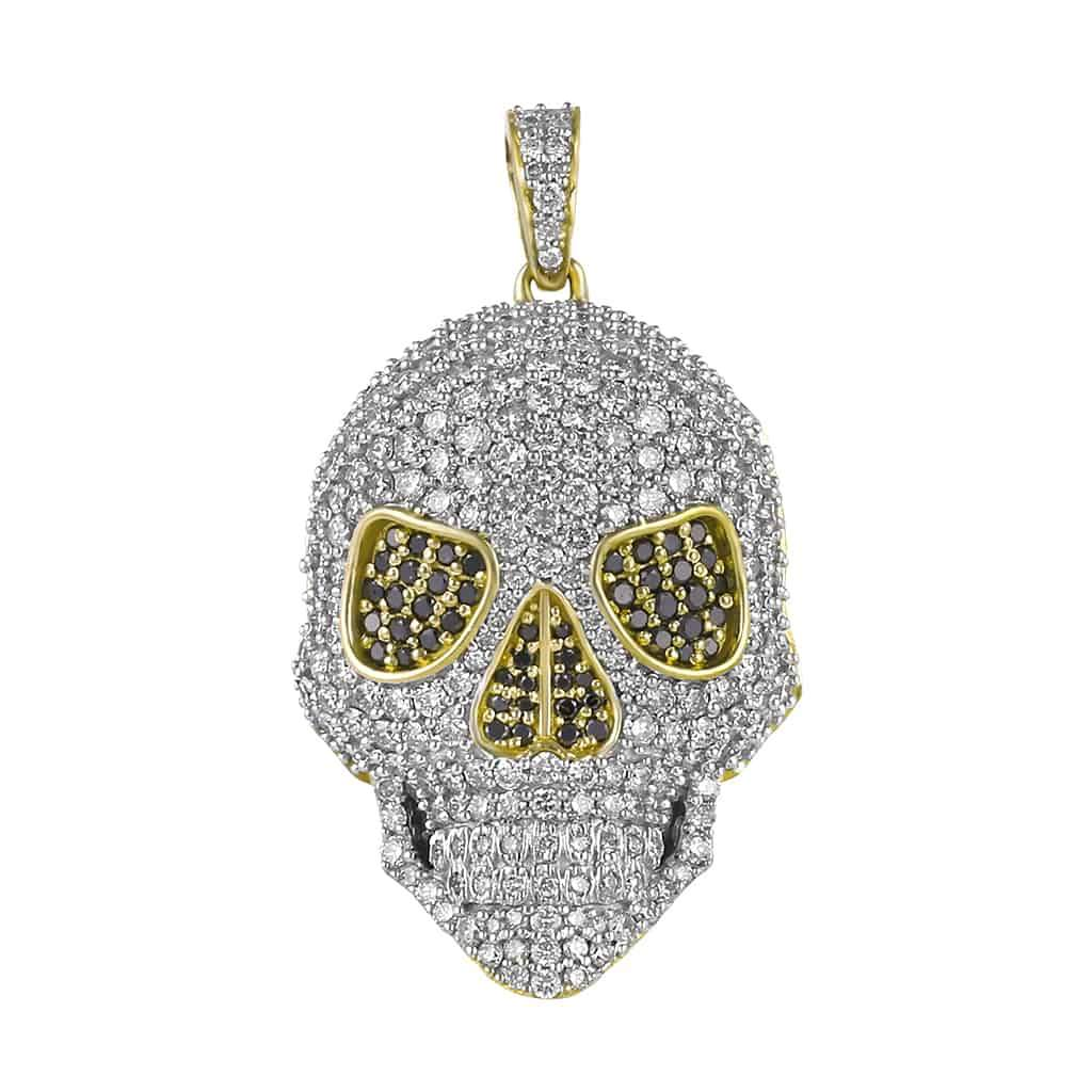 yellow gold skull necklace pendant for men
