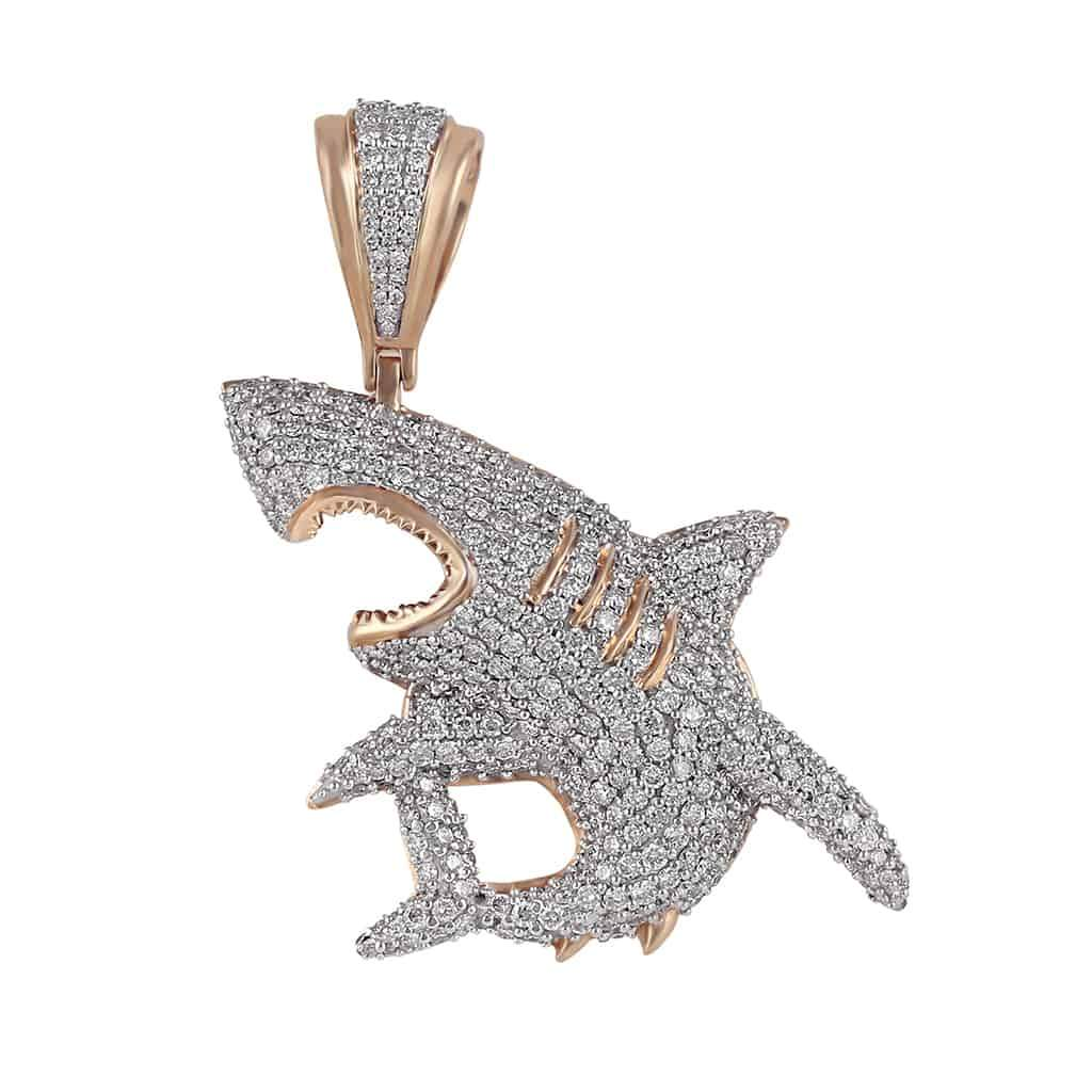 Iced Out Shark Pendant rose gold