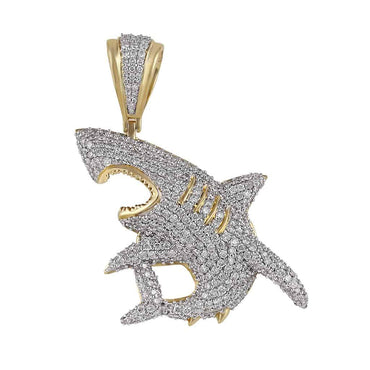 Iced Out Shark Pendant yellow gold