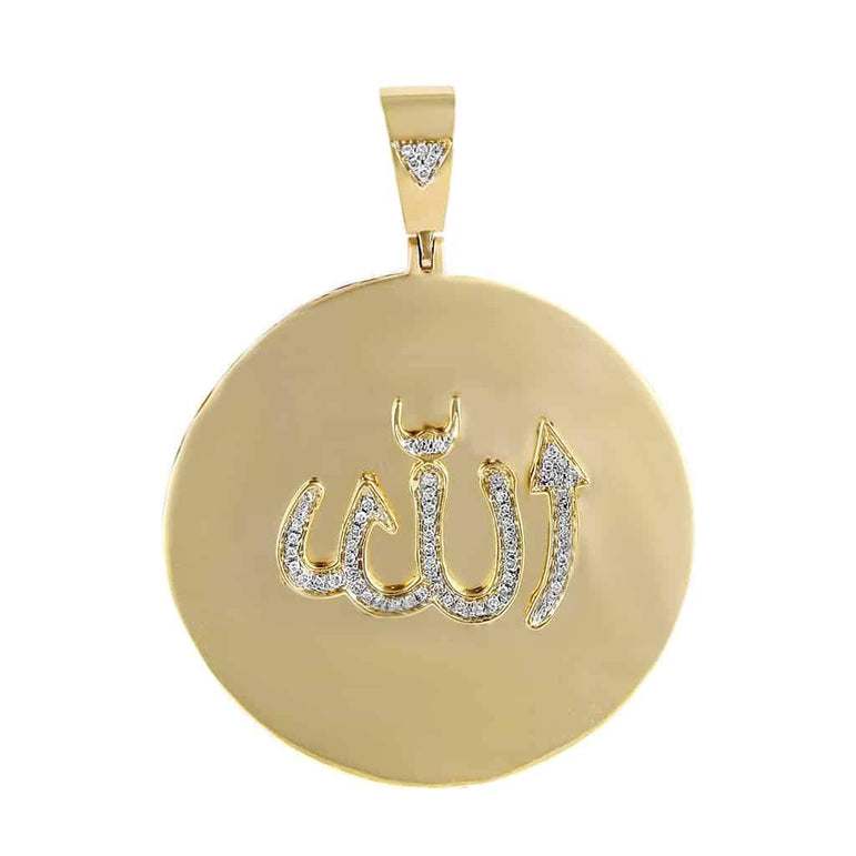 Round Shape Allah Pendant yellow gold