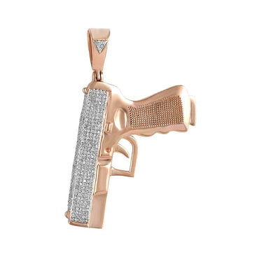 Handgun Pistol Pendant rose gold