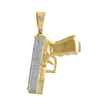 Handgun Pistol Pendant yellow gold