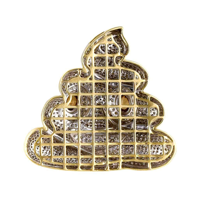Iced Out Ice Cream Pendant yellow gold
