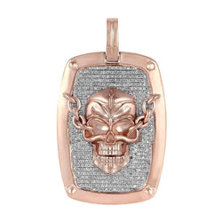 Skull Dog Tag Pendant rose gold