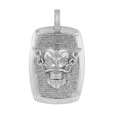 Skull Dog Tag Pendant white gold