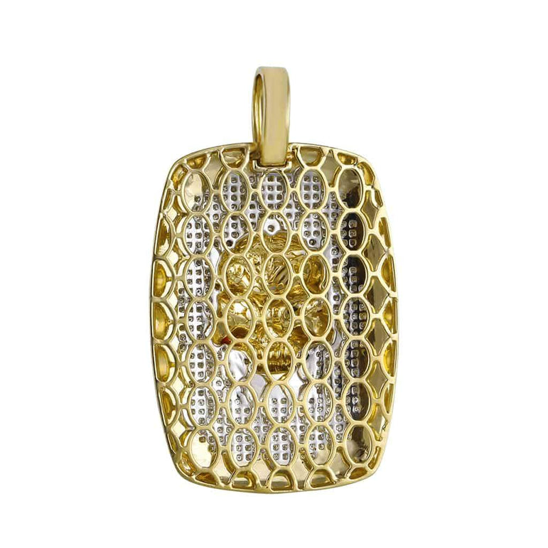 Skull Dog Tag Pendant yellow gold