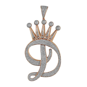 Initial Letter D Crown Pendant 3.16ct Natural Round Diamond by Fehu Jewel