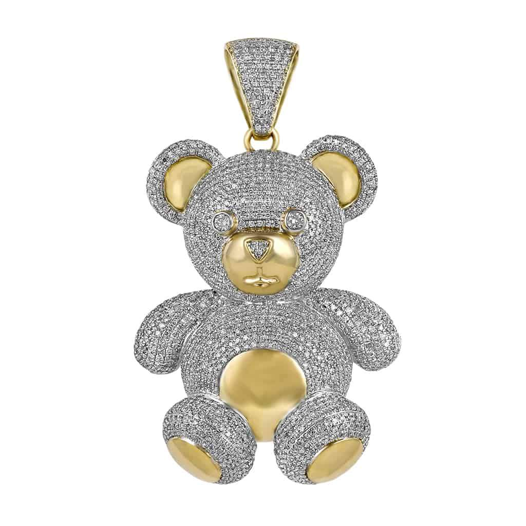 Diamond Teddy Bear Pendant yellow gold