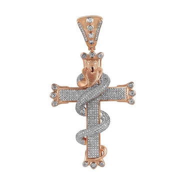 Snake on Cross Pendant rose gold